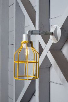 Industrial Wall Lamp - Outdoor Yellow Wire Cage Exterior Wall Sconce Light