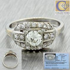 1930s Antique Art Deco 14k Solid White Gold .45ct Diamond Cluster Ring EGL