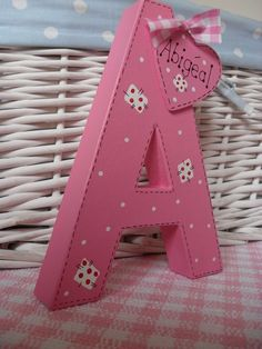 Letters for Girls Diy Projects To Try, Craft Projects, Craft Ideas, Personalised Signs, Decoupage, Paper Mache Letters, Baby Gifts, Amber, Lettering