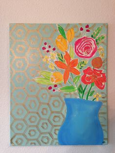 Original painting modern floral pink orange mint gold flower still life 16x20 canvas happy bright on Etsy, $89.00 I want this so badly!!