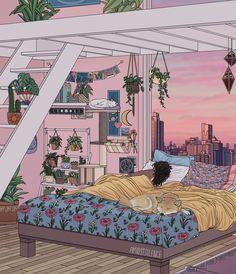 Sweet Dreams Art Print by Kelsey Smith - X-Small Pretty Art, Cute Art, Animes Wallpapers, Cute Wallpapers, Aesthetic Art, Aesthetic Anime, Aesthetic Bedroom, Bedroom Drawing, Arte Alien