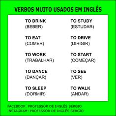 Verbos muito usados em inglês English Tips, English Study, English Class, English Words, Learn English, Portuguese Language, English Language, Mental Map, Learn Portuguese