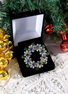 Vintage Austria Crystal Flower Brooch Vintage Rhinestone