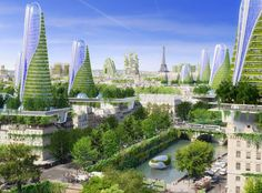 2050 Paris Smart City. Love the way this concept integrates the old with the new.