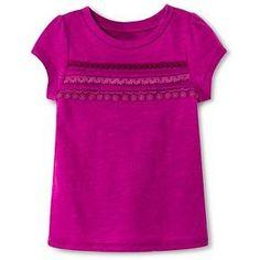 Toddler Girls' Short Sleeve Trim Stripe T-Shirt - Quaint Berry