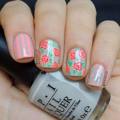 Get inspirations from these cool stylish nail designs for short nails. Find out which nail art designs work on short nails! Flower Nail Designs, Short Nail Designs, Nail Designs Spring, Cute Nail Designs, Floral Designs, Rose Nail Art, Rose Nails, Flower Nail Art, Nail Lacquer