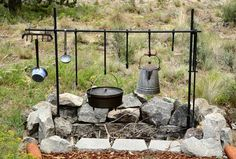 Dutch oven cooking setup. Don't forget to keep the coffee warm!