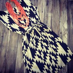 This black and white printed dress is so fine!! $39.95!
