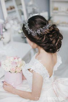 SALE 025 Pearl Crystal bridal hair pin Crystal pin Bridesmaid hair do Clear crystals Hair vines Bridal hair do Bridal accessory