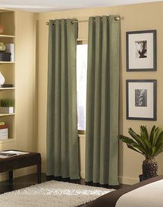 Curtains olive green and shower curtains on pinterest - Curtains for olive green walls ...