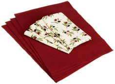 Amazon.com - DII Olive Grove Linen Ribbed Rust Placemats and Olive Grove Printed Cloth Napkins, Set of 4 - Kitchen Linen Sets #AmazonCart #DII #DesignImports