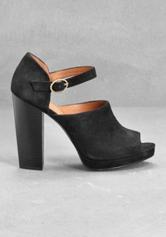 Suede peep toe pumps @ stories.com