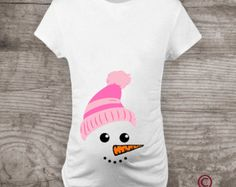 Personalized Maternity t-shirt Pregnancy Announcement Baby girl Snowman Mommy to be holiday gifts new baby shower gift a224
