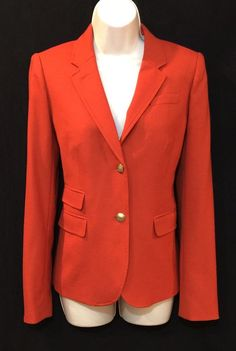J Crew Schoolboy Blazer 4T 4 Tall Stretch Wool Burnt Orange Lined Career Jacket #JCREW #Blazer