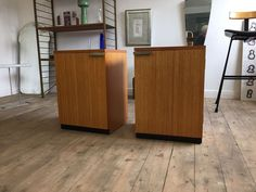 A pair of vintage stag 1960s fine line  bedside cabinets by John and Sylvia Reid