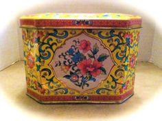 Beautiful Daher Hinged Yellow Floral Tin  by ScarlettsFancies, $14.00