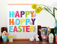 Happy Easter canvas tutorial {or free printable}
