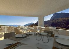 Dining in the mountain  - Design arch. Alessandro Frasson @alessandrofrasson_architetto / www.alessandrofrasson.com Restaurant Design, Restaurant Bar, Bar Interior Design, Mountain Designs, Dining Table, Architecture, Furniture, Home Decor, Environment