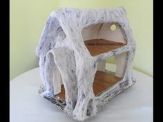 Fake Bark Dollhouse Reno Part Bark House- This Tutorial is amazing. Her creativity is unbelievable. I ended up watching the whole series. This post gives you a new video plus an outline to how I made the fake bark on my two Tree Stump houses pi Miniature Fairy Gardens, Miniature Houses, Fairy Crafts, Garden Crafts, Fairy Village, Fairy Garden Houses, Fairies Garden, Fairy Furniture, Gnome House
