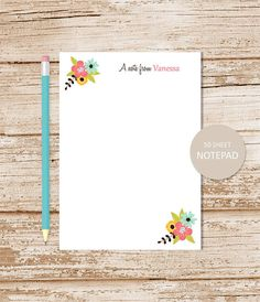 personalized notepad floral note pad floral wreath initial