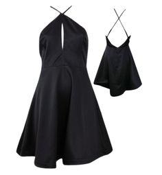 Lustrous Keyhole V-Strap Flare Dress - Black #shoppitaya