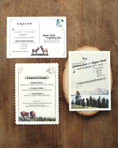 Mountain critters embellish these rustic invitations