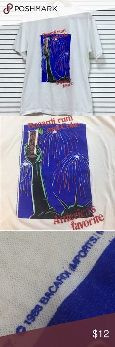"""1988 Bacardi Rum & Coke Tshirt Very good condition for being almost 30 years old. Minimal cracking and fading.  Tag Size: Large but looks more like a today's mens medium.   Measurements:  chest 19"""" length 25"""" Vintage Tops Tees - Short Sleeve"""
