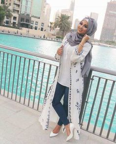 long-white-cardigan-with-details- How to wear cute hijab in