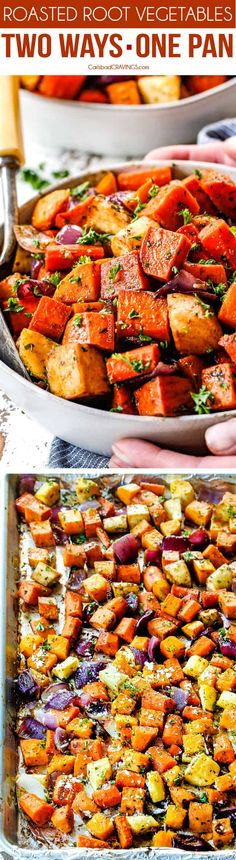 These Roasted Root Vegetables are made 2 ways in one pan for twice the flavor! OR you can pick justMaple Balsamic OR Parmesan Garlic Herb. They are super simple but Thanksgiving and Christmas delicious! via Carlsbad Cravings Side Dish Recipes, Vegetable Recipes, Vegetarian Recipes, Cooking Recipes, Healthy Recipes, Cheap Recipes, Cooking Steak, Roasted Root Vegetables, Root Veggies