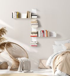 "Tired of classic, imposing bookcases that clutter up your rooms without decorating them? With TeeBooks and its ultra-design book shelf, you choose the audacious and contemporary. Design Bookcase ""CHICANE"" is made up of 4 wall shelves; 2 ""U""+ 2 ""UV"".  Mixing verticality and horizontality, this bookcase brings a dynamic touch to your walls with a lot of originality: arrange the four elements of this composition according to your taste. Cheap Office Decor, Cheap Bedroom Decor, Home Decor Bedroom, Target Home Decor, Cute Home Decor, Unique Home Decor, Home Decoration, Simple Living Room Decor, Boho Living Room"