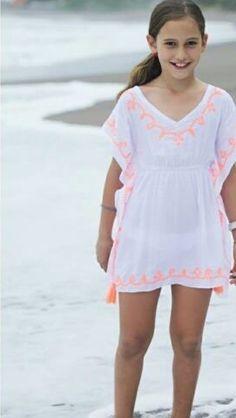 fa9784499b Kids Kaftan, BOHO Kids Dress, Orange Dress, Kids Beach Kaftan, Poncho,  Summer Dress, Kids Beachwear. Tassel Dress, Kids Tunic, Boho Kids