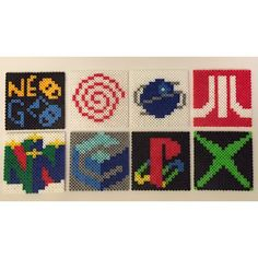 Videogame console logo coasters perler beads by The Pixelized Princess