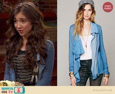 Riley's blue draped front jacket on Girl Meets World.  Outfit Details: http://wornontv.net/36287/ #GirlMeetsWorld