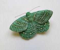 Embroidered moth brooch, 'Large Emerald', textile art, soft sculpture.