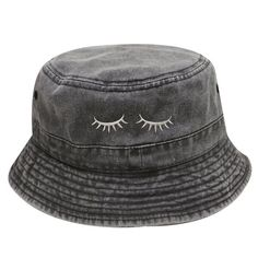 dce4d638f93 Capsule Design Eyelashes Washed Cotton Bucket Hats - Dark Gray