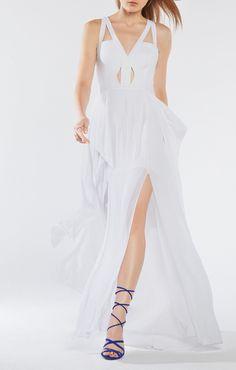 Juliana Cutout Ruffle Gown Dress
