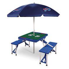 Buffalo Bills NFL Blue Portable Picnic Table with Umbrella
