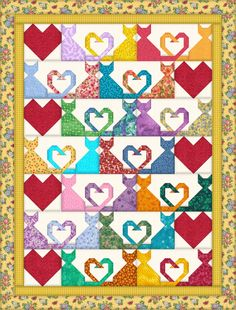 I love this cat & heart quilt pattern but cannot find it anywhere. I successfully used graph paper to figure out the patterns, so I'm going to call it Cat Tails and I'll be using it in the future for some charity quilts. Cat Quilt Patterns, Heart Quilt Pattern, Dog Quilts, Animal Quilts, Quilt Baby, Quilting Projects, Quilting Designs, Gatos Cats, Cat Pattern