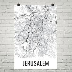 Jerusalem Map Art Print, Jerusalem Israel Art Poster, Jerusalem Wall Art, Jerusalem Gift, Map of Jerusalem, Jerusalem Print, Birthday, Art