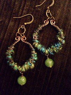 Green Fancy Yarn Wrapped PJive Boho earrings with jade bead. Fall fashion handmade Boho jewelry.