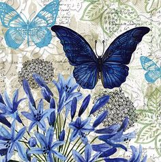 Blue Floral Study Embossed Paper Cocktail Napkin, 20 count Butterflies & hearts symbols the soul and change and love. this is a wonderful collage. Decoupage Vintage, Decoupage Paper, Vintage Paper, Vintage Butterfly, Butterfly Cards, Blue Butterfly, Paper Art, Paper Crafts, Butterfly Pictures