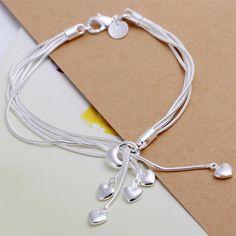 Hot Silver Jewelry Heart Shape Bracelet Charms Style Bracelets for Women Friendship Bracelets