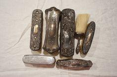 Antique Art Nouveau Art Deco Repousse & Engraved Sterling Silver Brush Lot #FosterBailey