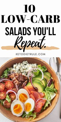 Salad Recipes Low Carb, Avocado Salad Recipes, Lunch Recipes, Diet Recipes, Healthy Recipes, Keto Foods, Kale Superfood, Low Glycemic Diet, How To Make Salad