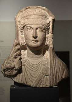 Limestone bust of a veiled woman, from a sculpture set in a tomb at Palmyra (Syria), about AD 80-100, Ashmolean Museum | da Following Hadrian