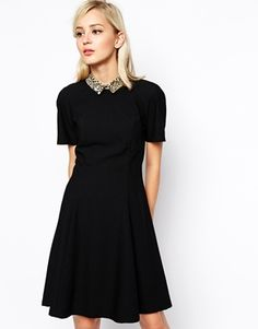 Image 1 ofRiver Island Swing Dress With Leopard Collar