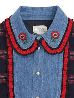 gucci - kids-girls - dresses - cotton flannel & denim dress