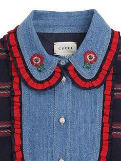 gucci - kids-girls - dresses - cotton flannel & denim dress