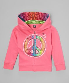 Look what I found on #zulily! Rose Peace Sign Zip-Up Hoodie - Toddler & Girls #zulilyfinds