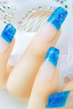 Blue crystal nail art #nail #art #polish #makeup www.loveitsomuch.com